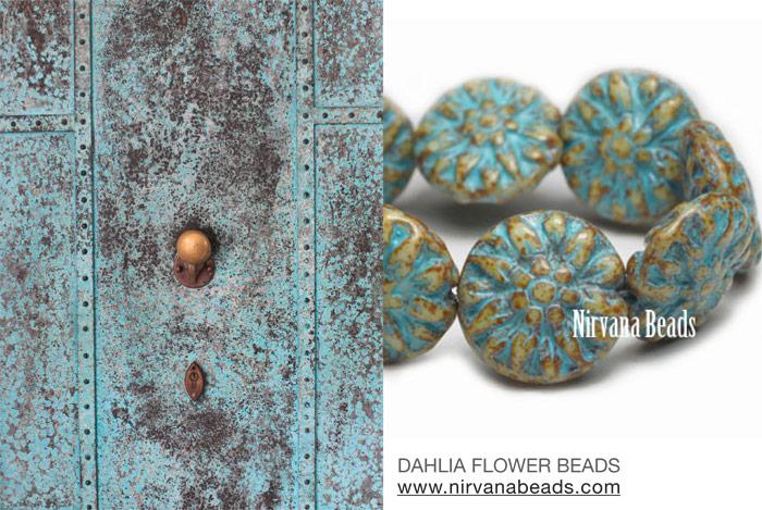 Dahlia Flowers and Czech Door
