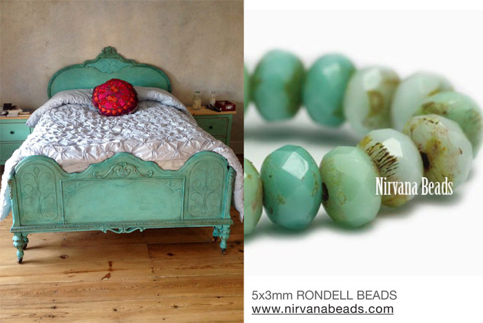 Turquoise rondelles and turquoise bed