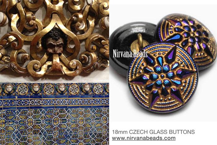 Czech glass buttons and mosaics